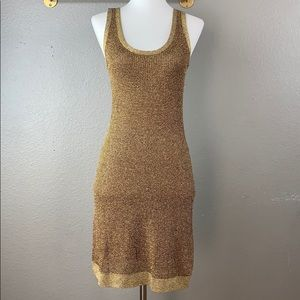 The Limited metallic gold knit tank sweater dress